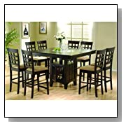 Cappuccino Finish Counter Height Dining Table Chair Set