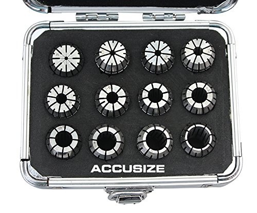 AccusizeTools - Metric ER Collet 2mm to 13mm by 1mm ER-20 Collet 12 Pcs/Set in Fitted Strong Aluminium Box, 3350-0583