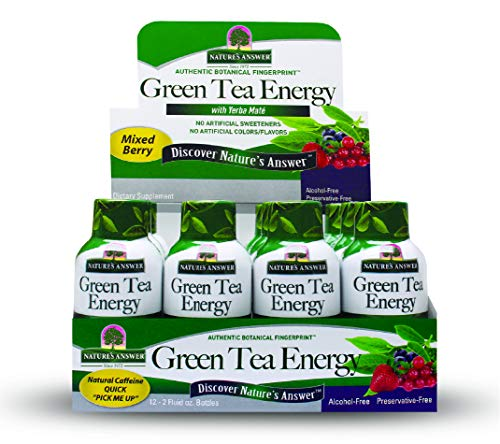 Nature's Answer Green Tea Energy Shot Brain Booster with Yerba Mate (12 Pack) Energy Shots Green Tea - Green Tea Shot