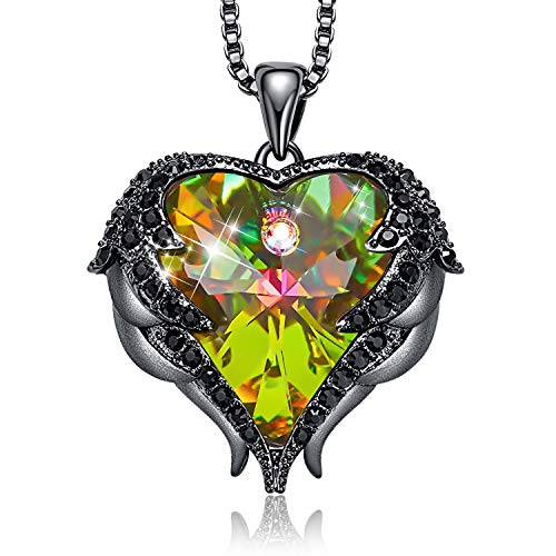 - CDE Angel Wing Necklaces for Women Embellished with Crystals from Swarovski Pendant Necklace Heart of Ocean Jewelry Gift for Mom (10_Dark Yellow)