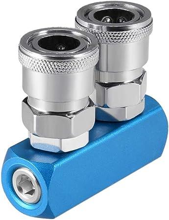 """G 1//4/"""" 8 Ports 5 Ways Quick Connect Air Hose Aluminum Vacuum Manifold Block"""