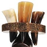 BRANDED Buffalo Horn Shot Glass Rack -Set of 6 Authentic 2 oz. Horn Shot Glasses with Premium Custom Wooden Rack to hold Glass on Bottal Neck