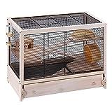 Ferplast HAMSTERVILLE Hamster Habitat Cage, Sturdy Wooden Structure, Black