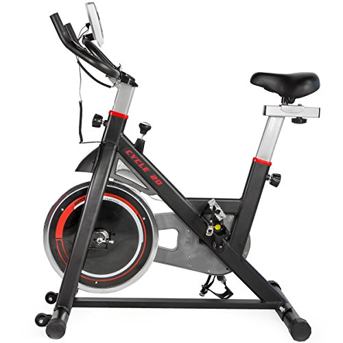 XtremepowerUS CYCLE 20 Exercise Bike Indoor Cycling Bicycle w/ 20lbs Chrome Flywheel (Black and Red, Regular)