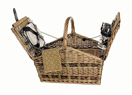 Picnic Basket w Cooler Compartment and Accessories for 4 - Willow by Picnic & Beyond