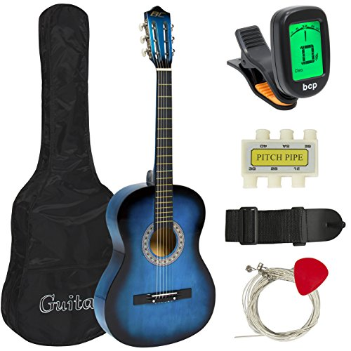 "Best Choice Products Beginners 38"" Acoustic Guitar with Case, Strap, Digital E-Tuner, and Pick, (Blue)"