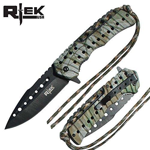 "Rtek RT-110373-TCA 4.5"" Asst.Open Pocket Knife Tree Camo Color Handle W/Beltclip Black Blade"
