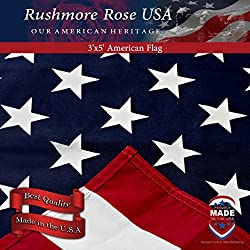 US Flag - 100% Made in USA. Cotton American Flag 3x5 ft by Rushmore Rose USA. Display with Pride.