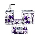 EUMAT Nature Series Bathroom Organizer Set Acrylic 4 PCS Bathroom Washing Accessory Set With Purple Flower NB4-026