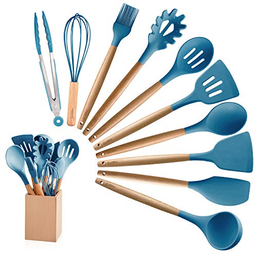 MIBOTE 10 Pieces Silicone Cooking Utensils Kitchen Utensil Set with Holder, Acacia Wooden Cooking Tool Turner Tongs Spatula Spoon for Nonstick Cookware - Best Kitchen Tools Gadgets (Blue) ()