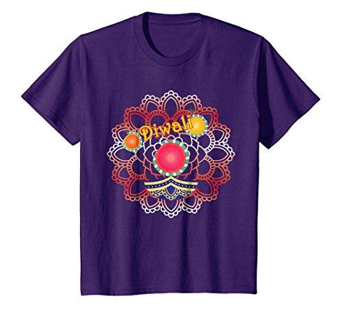 Kids Vibrant Rangoli Lamp And Firecrackers Diwali Tshirt 8 Purple by Happy Diwali Tshirts