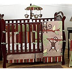 Monkey Animal Jungle Safari Baby Boy Bedding 9pc Boys Crib Set