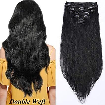 """10""""(25cm) Extensiones de Cabello Natural Clip Double Weft(Muy Gruesas)"""