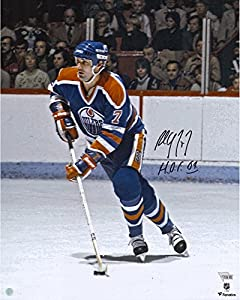 "Paul Coffey Edmonton Oilers Autographed 16"" x 20"" Blue Jersey Skating Photograph with HOF 2004 Inscription - Fanatics Authentic Certified"
