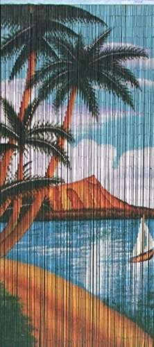 Sail Boat Print Beaded Bamboo Curtain, 36''W x 78''H by Master Garden Products