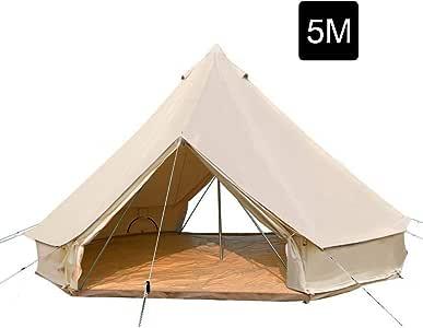 PlayDo - Tienda de campaña de Lona de algodón para 4 Estaciones, 5 m, para la Familia, Camping, Caza, Senderismo, Fiesta de Boda con 2 Puertas: Amazon.es: Deportes y aire libre