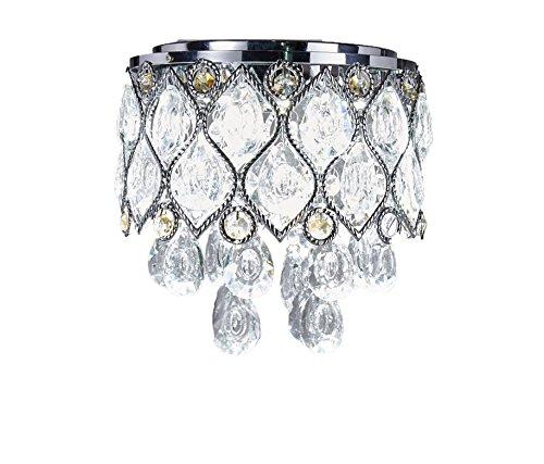 LED Crystal Chandelier Chrome Metal Shade Flush Mount Ceiling Lighting Fixture, C909 (8l Chrome Crystal Chandelier)