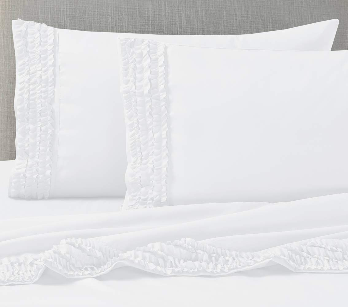 Janluxe White Ruffle Pillow Case 1800 Brushed Microfiber Pillowcase Set Breathable,Wrinkle Free-Hypoallergenic King