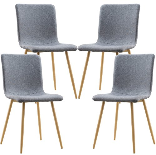 POLY & BARK EM-286-GRY-X4 Dining Chair with Natural Legs, Set of 4, Gray