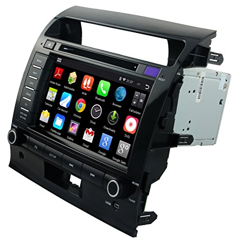 """YINUO 1024*600 Android 4.4.4 8"""" Car DVD GPS Stereo for Toyota Land Cruiser 200 2008 2009 2010 2011 2012 In Dash Navigation Receiver with Capacitive Digital Touch Screen support GPS/DVD/AM FM Radio/iPhone Screen Mirroring/Steering Wheel Control/Bluetooth/Built-in Wifi Hotspots/3G/OBD2/DVR/AV-IN with Free External Mic & 8GB Map Card as gift"""