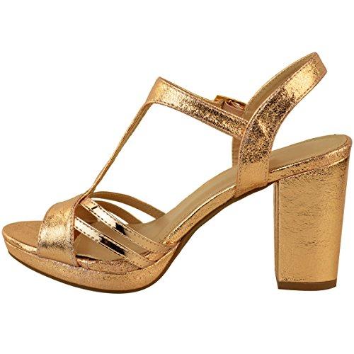 Comfort Strappy Oro Wedding Matrimonio Rosa Party Heel Mid Womens Heelberry Block Fashion Metallic Size Thirsty Sandali Crinkle Ladies Pz7xUq