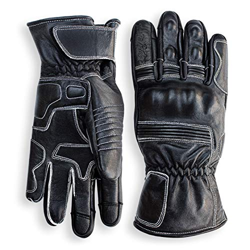 (Pre-Weathered Premium Leather Motorcycle Gloves (Black) Cool, Comfortable Riding Protection, Cafe Racer, Full Gauntlet with Mobile Touch Screen (X-Large))