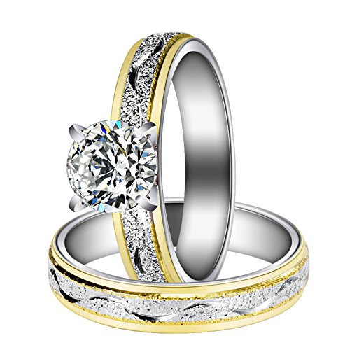 Women Engagement Rings Set, Stainless Steel Gold Plated Cubic Zirconia Promise Wedding Rings Size 7