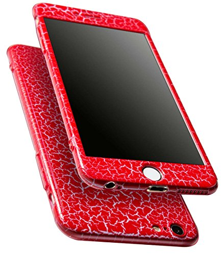 Coque iPhone 6S Coque iPhone 6 360 Protection PC 3 en 1 Full Cover Adamark Housse Integrale Bumper Etui Case Protège Écran en Verre Trempé Pour iPhone 6S/6 (Bleu) Motif Rouge