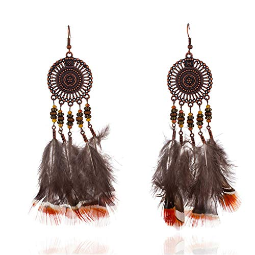 Bohemian long brown feather earrings for women dream catcher hollow big round circle earrings Ethnic beads pendant ()
