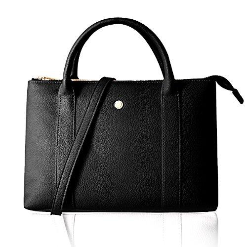 The Lovely Tote Co. Women's Medium Zip Shoulder Bag Crossbody Satchel Handbag Purse,Black Double Top Zip Shoulder Bag
