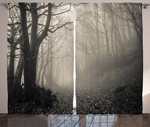 Ambesonne Gothic Decor Collection, Path on the Gothic Forest Trees Foggy Mysterious Nature Monochrome Art, Living Room Bedroom Curtain 2 Panels Set, 108 X 84 Inches, Cloudy Gray