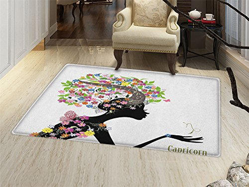 smallbeefly Zodiac Capricorn Door Mats Area Rug Woman Silhouette with Horns and Blooming Colorful Floral Elements Design Floor mat Bath Mat for tub Multicolor Blooming Silhouette