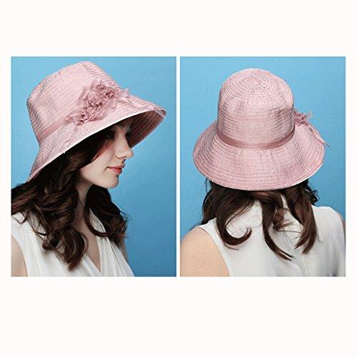 Beige Parasole Qiqidedian Sole Con Uv Pieghevole Rosa Visiera Da colore Femminile Cappello WRw7qHpv