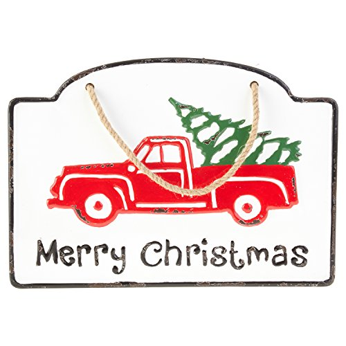 Vintage Iron Metal Merry Christmas Sign with Red Truck and Christmas Tree - Hanging Holiday Decoration