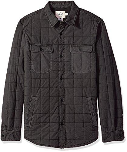 (UGG Men's Quilted Shirt Jacket, Off Black, XL)