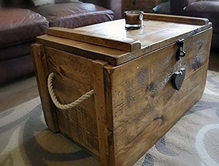 This Handmade British Wooden Chest Type Coffee Table For Storage Can Be  Used As An Ottoman