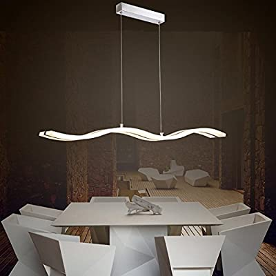Unitary Brand Modern Acrylic Wave Shape LED Island light with Max 40W Chrome Finish