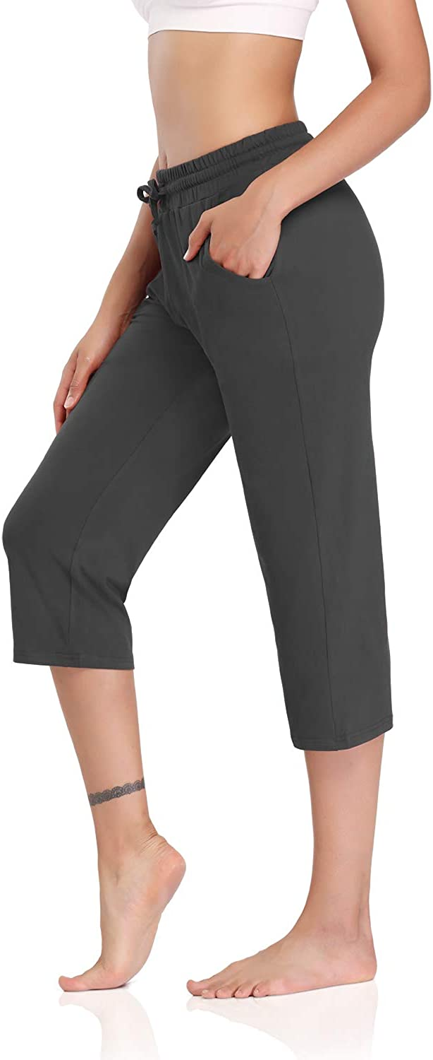 DIBAOLONG Womens Yoga Pants Capri Wide Leg Comfy Drawstring Loose Lounge Workout Pants with Pockets
