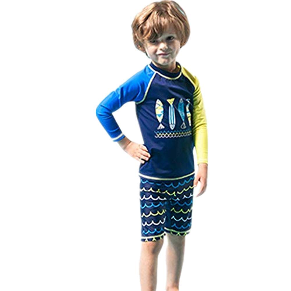 NUWFOR Children Kids Boys Girls Cartoon Fish Tops+Wave Shorts+Hat Sunsuit Swimwear Sets(Blue,5-6 Years