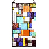 23'' H Stained Glass Mod Collage Window Panel