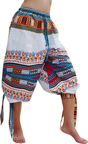 New Fair Trade Handmade Art - RaanPahMuang Capri Buccaneer Tied Leg Pirate Pants in Swashbuckling Dashiki Art, Large, New White Blue