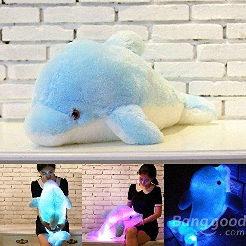 PhilMat Peluche colorato LED luce forma delfino blu cuscino di tiro Phil Mat BG