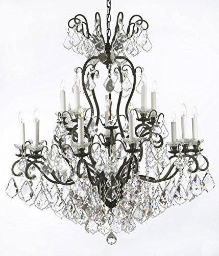Versailles Wrought Iron Chandelier - Swarovski Crystal Trimmed Chandelier! Wrought Iron Crystal Chandelier Chandeliers Lighting W38