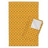 Retro Funky Citrus Blossoms Floral Flower Nature Tea Towels Solar Lattice by Robyriker Set of 2 Linen Cotton Tea Towels