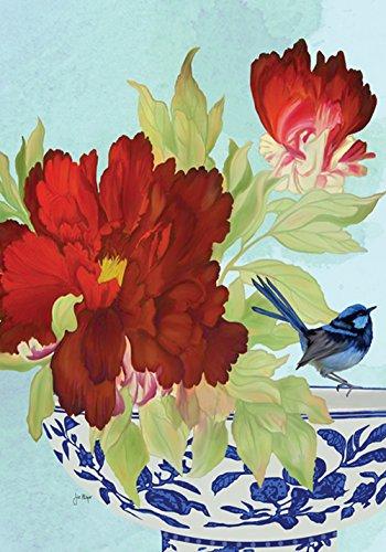 Toland Home Garden Blue Bird 28 x 40 Inch Decorative Spring Summer Flower Bowl House Flag