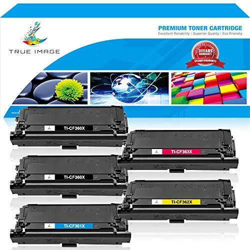 TRUE IMAGE Compatible Toner Cartridge Replacement for HP CF360X 508X HP Color LaserJet Enterprise M552dn M553dn M553n M553x MFP M577 M552DN Printer Toner Ink 5 Pack (2 Black,1 Cyan,1 Magenta,1 ()