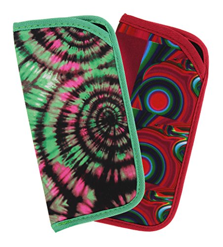 2 Pack Soft Slip In Eyeglass Case For Women & Men, Colorful Psychedelic - Case Funky Glasses