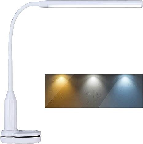 L/ámpara de Abrazadera Modos de Iluminaci/ón Ajustables e Intensidad de Brillo para Mesita de Noche Luz de Lectura LED con Clip Blanco