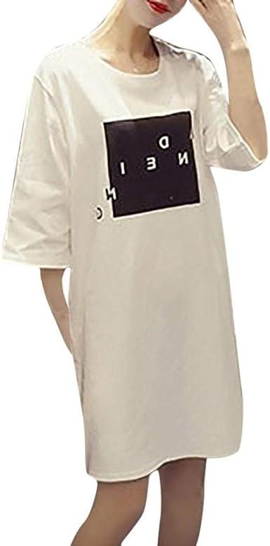 Vestidos De Verano Elegante Moda Cortos Simple Anchas Mujer Estilo Camisetas Vestido Manga Corta Cuello Redondo Carta Estampadas Vestidos De Camisa Vestido De Verano: Amazon.es: Ropa y accesorios