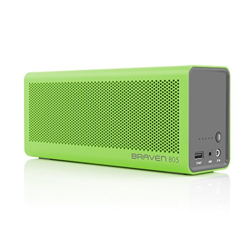 BRAVEN 805 Portable Wireless Bluetooth Speaker Built-In 4400 mAh Power Bank Charger - Green / Gray